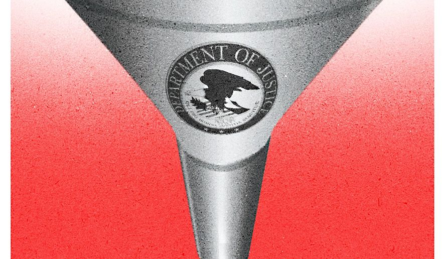 Illustration on DOJ misuse by Alexander Hunter/The Washington Times
