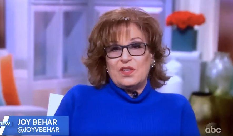 "Joy Behar talks politics with the ladies of ABC's ""The View,"" Feb. 3, 2021. (Image: ABC, ""The View"" video screenshot)"
