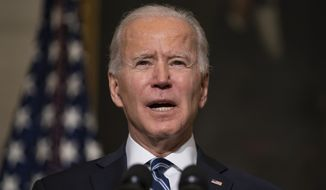 In this Wednesday, Jan. 27, 2021, file photo, President Joe Biden speaks in the State Dining Room of the White House in Washington. Biden has extended the interest-free payment pause for most federal student loan borrowers through Sept. 30. But after that break ends, paying $0 may still be a necessity for some borrowers. (AP Photo/Evan Vucci, File)