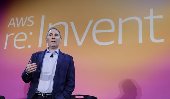 In this Dec. 5, 2019, file photo, AWS CEO Andy Jassy, discusses a new initiative with the NFL during AWS re:Invent 2019 in Las Vegas. Amazon announced Tuesday, Feb. 2, 2021, that Jeff Bezos would step down as CEO later in the year, leaving a role he's had since founding the company nearly 30 years ago. Amazon says Bezos will be replaced in the summer by Jassy, who runs Amazon's cloud business. (Isaac Brekken/AP Images for NFL, File) **FILE**