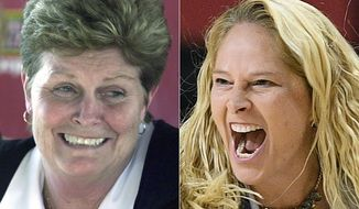 At left, in a March 5, 2002, file photo, University of Maryland women's NCAA college basketball head coach Chris Weller announces her retirement in College Park, Md., in a Tuesday, March 5, 2002, file photo. At right, in a Nov. 5, 2019, file photo, Maryland head coach Brenda Frese reacts during the first half of an NCAA college basketball game against Wagner, in College Park, Md. Frese stands one victory away from tying Weller for most wins at Maryland, with No. 499 ripe to be plucked on Thursday, Feb. 4, 2021, when the 10th-ranked Terrapins (12-2, 8-1) host struggling Wisconsin (4-11, 1-11). (AP Photo/File)