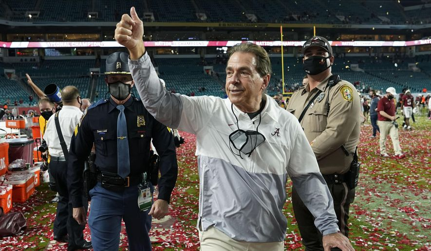 Alabama head coach Nick Saban leaves the field after their win against Ohio State in the NCAA College Football Playoff national championship game in Miami Gardens, Fla., in this Tuesday, Jan. 12, 2021, file photo. The National signing day period begins Wednesday, Feb. 3, 2021. (AP Photo/Lynne Sladky, File) **FILE**
