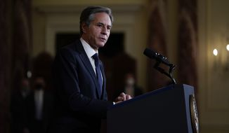 Secretary of State Antony Blinken speaks at the State Department, Thursday, Feb. 4, 2021, in Washington. (AP Photo/Evan Vucci) **FILE**