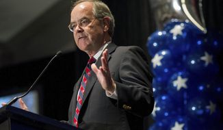 FILE - In this  Nov. 8, 2016, file photo, Rep. Jim Cooper, D-Nashville, announces his victory during the Democratic watch party at the Loews Vanderbilt Hotel, in Nashville, Tenn. Cooper's office says the Democrat's wife, Martha Cooper, died Thursday, Feb. 4, 2021, at their Nashville home, years after being diagnosed with Alzheimer's disease.  (Andrew Nelles/The Tennessean via AP, File)