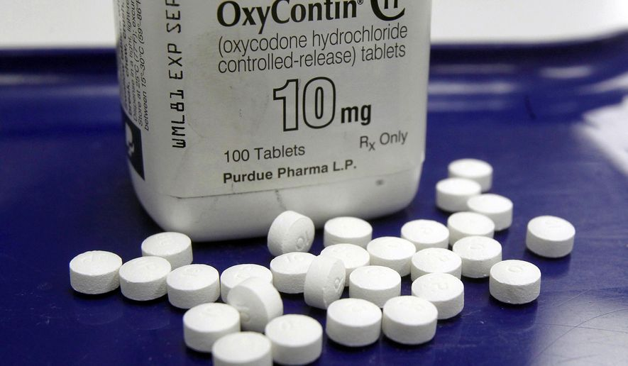 FILE - This Feb. 19, 2013, file photo shows OxyContin pills arranged for a photo at a pharmacy in Montpelier, Vt. The global business consulting firm McKinsey & Company has agreed to a $573 million settlement over its role in the opioid crisis, according to a person with knowledge of the deal. An announcement is expected Thursday, Feb. 4, 2021. (AP Photo/Toby Talbot, File)