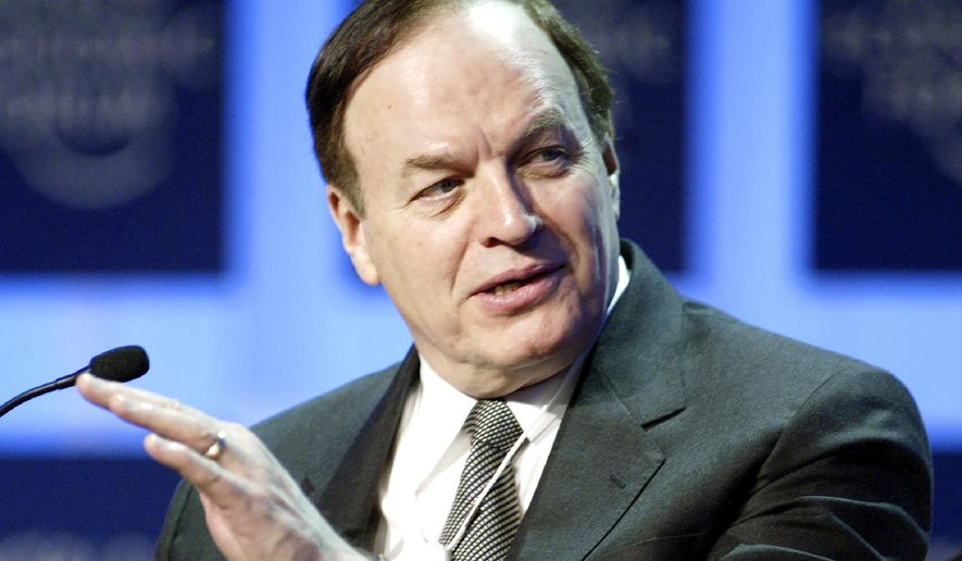"""FILE-In this Jan. 29, 2005, file photo, Sen. Richard Shelby, R-Ala., speaks during the panel """"A Reality Check on the US Economy"""" at the World Economic Forum in Davos, Switzerland. Shelby, the Senate's fourth most senior member, has told confidantes that he does not intend to run for reelection next year _ prompting some Republicans to urge the powerful, establishment politician to reconsider, even as potential replacements prepare to run for his seat. (AP Photo/Michael Probst, File)"""