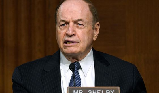 FILE  -In this Sept. 24, 2020 file photo, Sen. Richard Shelby, R-Ala., speaks during the Senate's Committee on Banking, Housing, and Urban Affairs hearing on Capitol Hill in Washington. Shelby, the Senate's fourth most senior member, has told confidantes that he does not intend to run for reelection next year _ prompting some Republicans to urge the powerful, establishment politician to reconsider, even as potential replacements prepare to run for his seat. (Toni L. Sandys/The Washington Post via AP, Pool, File)