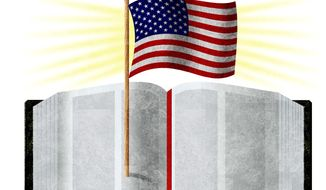 Illustration American exceptionalism and biblical belief by Alexander Hunter/The Washington Times