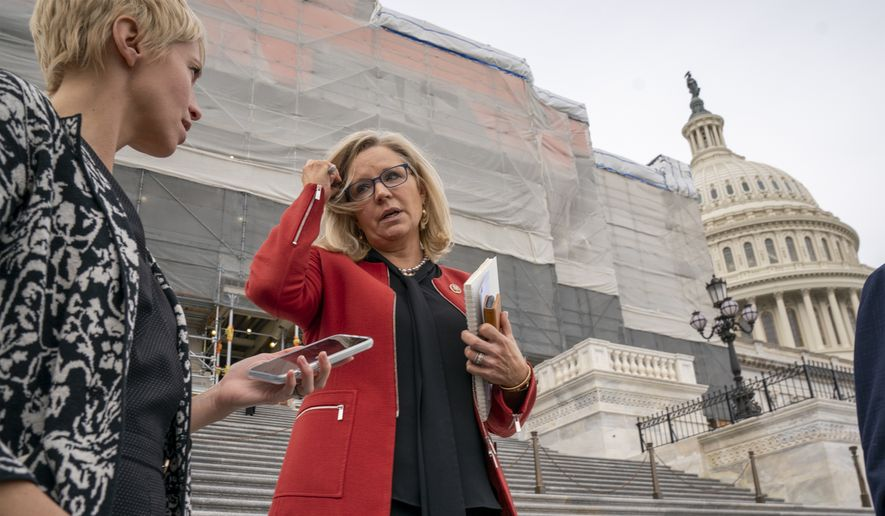 In this Jan. 10, 2020, file photo, Rep. Liz Cheney, R-Wyo., speaks with reporters as lawmakers leave the Capitol in Washington. (AP Photo/J. Scott Applewhite, File)