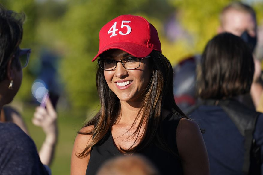 In this Sept. 4, 2020, file photo, Lauren Boebert, then-Republican candidate for the U.S. House of Representatives seat in Colorado's vast 3rd Congressional District, attends a freedom cruise staged by her supporters in Pueblo West, Colo. (AP Photo/David Zalubowski, File)