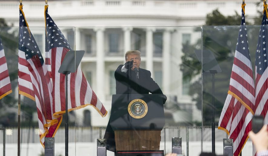 In this Jan. 6, 2021, file photo President Donald Trump speaks during a rally protesting the electoral college certification of Joe Biden as President in Washington. Arguments begin Tuesday, Feb. 9, in the impeachment trial of Donald Trump on allegations that he incited the violent mob that stormed the U.S. Capitol on Jan. 6. (AP Photo/Evan Vucci, File)  **FILE**
