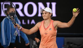 Australia's Ash Barty celebrates after defeating Spain's Garbine Muguruza in the final of the Yarra River Classic in Melbourne, Australia, Sunday, Feb. 7, 2021.(AP Photo/Andy Brownbill)
