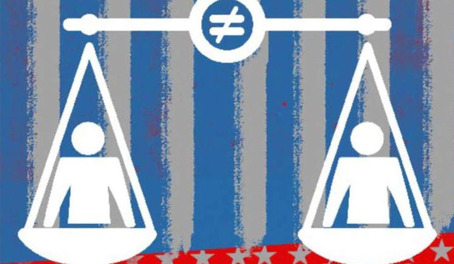 Illustration on equity politics by Linas Garsys/The Washington Times