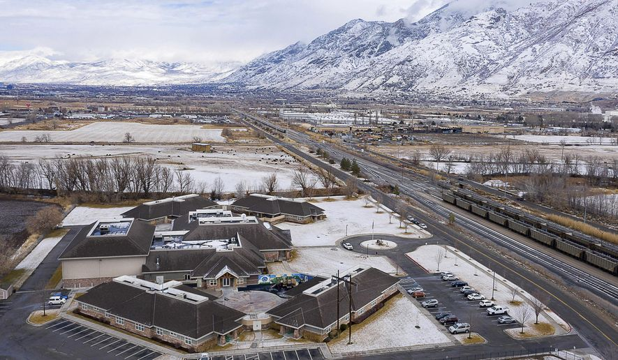 An aerial photo shows Provo Canyon School campus on Saturday, Jan. 30, 2021, in Springville, Utah. Public records show a teenager from Oregon's foster care system was injected with sedatives while staying at the youth residential treatment facility in Utah. A Utah lawmaker is now proposing new regulations on the youth-treatment industry spotlighted by abuse allegations by celebrity Paris Hilton. (Francisco Kjolseth/The Salt Lake Tribune via AP)