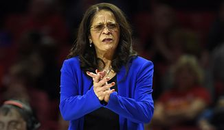 FILE - In this Dec. 31, 2018, file photo, Rutgers coach C. Vivian Stringer instructs her team during the first half of a NCAA basketball game against Maryland in Baltimore. The Rutgers women's basketball team last played on Jan. 3 and has been on pause because of COVID-19 issues in the program for the past month. They'll finally play again on Sunday at home against Nebraska. Ironically, that was the Scarlet Knights' last opponent before being shutdown. (AP Photo/Gail Burton, File)