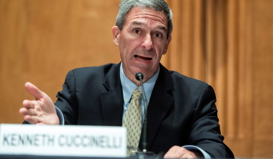 Then-acting Deputy Secretary of the Homeland Security Department Ken Cuccinelli signed the agreements in the final weeks of the Trump administration. (Associated Press)