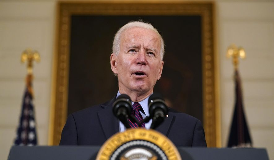 In this Friday, Feb. 5, 2021, file photo, President Joe Biden speaks in the State Dining Room of the White House, in Washington. (AP Photo/Alex Brandon, File)