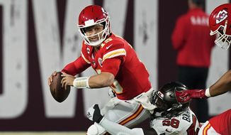 Tampa Bay Buccaneers outside linebacker Shaquil Barrett sacks Kansas City Chiefs quarterback Patrick Mahomes during the second half of the NFL Super Bowl 55 football game Sunday, Feb. 7, 2021, in Tampa, Fla. (AP Photo/Ashley Landis)