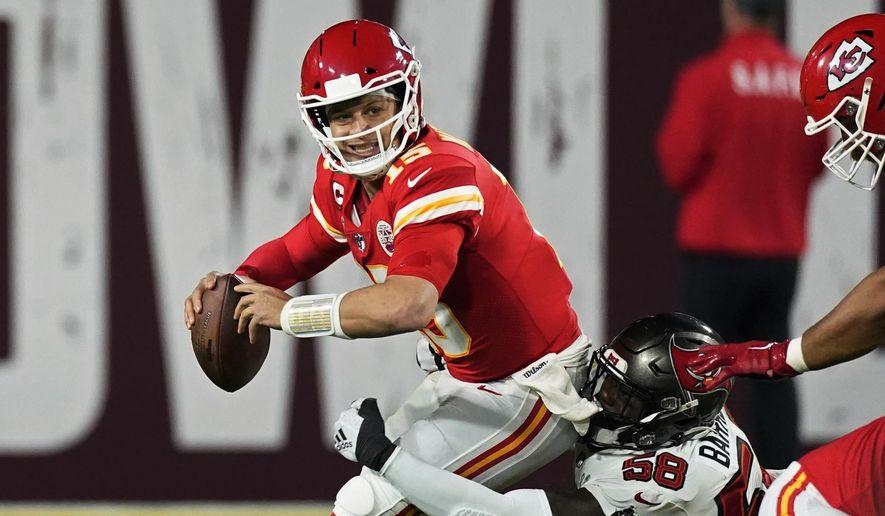 Tampa Bay Buccaneers outside linebacker Shaquil Barrett sacks Kansas City Chiefs quarterback Patrick Mahomes during the second half of the NFL Super Bowl 55 football game Sunday, Feb. 7, 2021, in Tampa, Fla. (AP Photo/Ashley Landis)