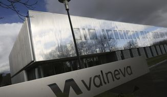 The French vaccine startup Valneva headquarters is pictured in Saint-Herblain, western France, Wednesday, Feb. 3, 2021. French pharmaceutical startup Valneva had big news in September: a government contract for 60 million doses of its coronavirus vaccine candidate. The buyer? The United Kingdom — not the European Union, as might be expected for a company on the banks of the Loire. (AP Photo/David Vincent)