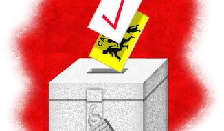 Illustration on illegal votes allowed under H.R. 1 by Alexander Hunter/The Washington Times