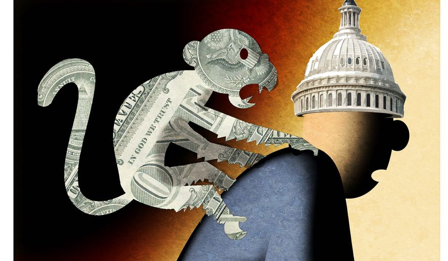 Illustration on Congress' spending addiction by Alexander Hunter/The Washington Times