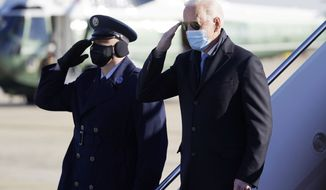 President Joe Biden steps off Air Force One at Andrews Air Force Base, Md., Monday, Feb. 8, 2021. Biden is returning to Washington after spending the weekend at his home in Delaware. (AP Photo/Patrick Semansky) **FILE**