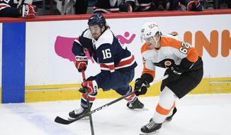 Washington Capitals center Philippe Maillet (16) battles for the puck against Philadelphia Flyers right wing Nicolas Aube-Kubel (62) during the third period of an NHL hockey game, Sunday, Feb. 7, 2021, in Washington. The Flyers won 7-4. (AP Photo/Nick Wass)  **FILE**