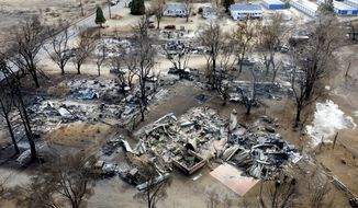 FILE - In this Nov. 18, 2020 file photo taken by a drone, residences destroyed by the Mountain View Fire line a street in the Walker community in Mono County, Calif. As consecutive years of catastrophic wildfires drive up the cost of insuring homes across California, state regulators announced on Monday, Feb. 8, 2021, a step toward creating incentives for retrofitting older homes to make them more resilient to fires. (AP Photo/Noah Berger, File)