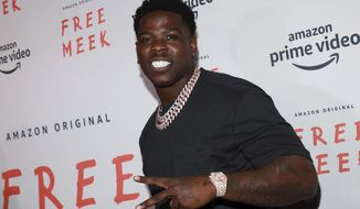 """FILE - In this Aug. 1, 2019, file photo, Casanova attends the world premiere of Amazon Prime Video's """"Free Meek"""" limited documentary series at the Ziegfeld Ballroom in New York. Jailed rapper Casanova is facing disciplinary charges over a dance challenge video posted on social media. (Photo by Jason Mendez/Invision/AP, File)"""