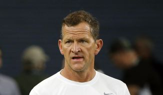 Los Angeles Rams' Joe Barry is shown before an NFL football game between the Rams and the Dallas Cowboys in Arlington, Texas, in this Sunday, Dec. 15, 2019, file photo. The Green Bay Packers are giving Joe Barry a third shot as an NFL defensive coordinator. Green Bay Packers coach Matt LaFleur announced Monday, Feb. 8, 2021, he was making Barry defensive coordinator. (AP Photo/Michael Ainsworth, Filw) **FILE**