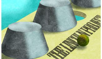 Illustration on the Lincoln Project as a scam by Alexander Hunter/The Washington Times