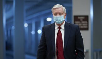 Sen. Lindsey Graham, R-S.C., arrives ahead of the second impeachment trial of former President Donald Trump in the Senate on Capitol Hill Tuesday, Feb. 9, 2021, in Washington. (AP Photo/Susan Walsh)