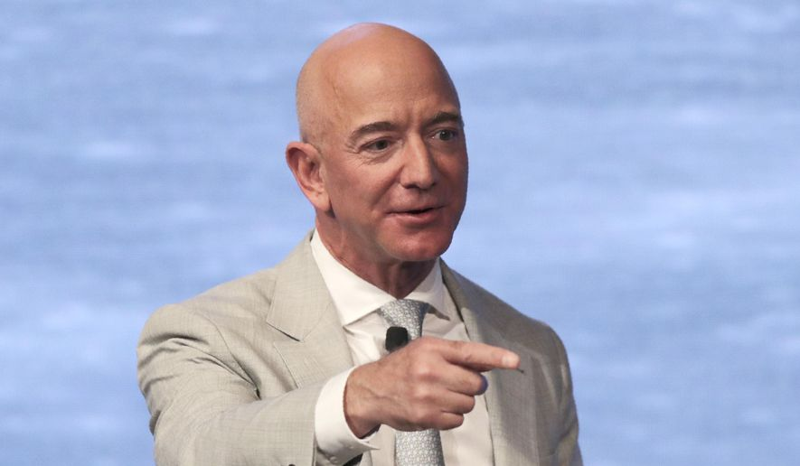 In this June 19, 2019, file photo, Amazon founder Jeff Bezos speaks during the JFK Space Summit at the John F. Kennedy Presidential Library in Boston. (AP Photo/Charles Krupa, File)