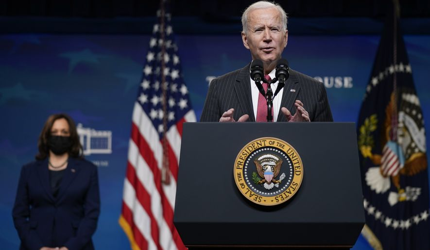 President Joe Biden speaks alongside Vice President Kamala Harris in the South Court Auditorium on the White House complex, Wednesday, Feb. 10, 2021, in Washington. (AP Photo/Patrick Semansky)  **FILE**