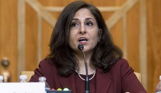 Neera Tanden, President Joe Biden's nominee for Director of the Office of Management and Budget (OMB), testifies during a Senate Committee on the Budget hearing on Capitol Hill in Washington, Wednesday, Feb. 10, 2021.(AP Photo/Andrew Harnik, Pool)