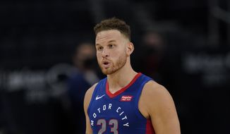 Detroit Pistons forward Blake Griffin plays during the first half of an NBA basketball game, Tuesday, Feb. 9, 2021, in Detroit. (AP Photo/Carlos Osorio)