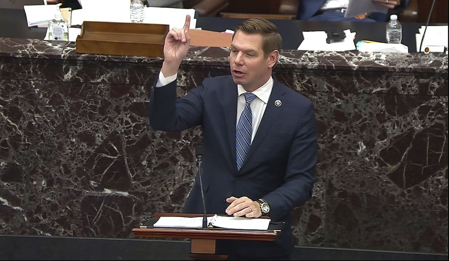 In this image from video, House impeachment manager Rep. Eric Swalwell, D-Calif., speaks during the second impeachment trial of former President Donald Trump in the Senate at the U.S. Capitol in Washington, Wednesday, Feb. 10, 2021. (Senate Television via AP) ** FILE **