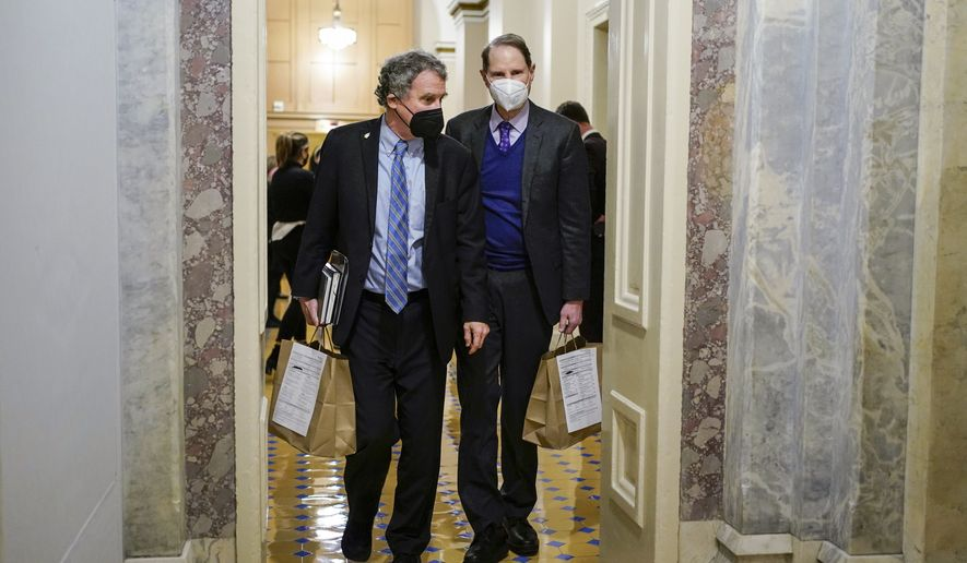 Sen. Sherrod Brown, D-Ohio, and Sen. Ron Wyden, D-Ore., walk the halls during a break in the second impeachment trial of former President Donald Trump at the Capitol on Wednesday, Feb. 10, 2021. (Joshua Roberts/Pool via AP) **FILE**