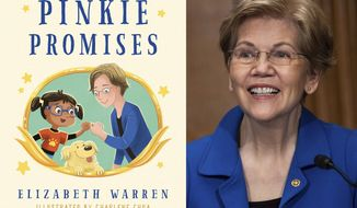 """This combination photo shows cover art for """"Pinkie Promises,"""" by Elizabeth Warren and illustrations by Charlene Chua, left, and Sen. Elizabeth Warren, D-Mass., during a Senate Health, Education, Labor and Pensions Committee hearing on Capitol Hill in Washington on Feb. 4, 2021. (Godwin Books via AP, left, and Graeme Jennings/Pool via AP)"""