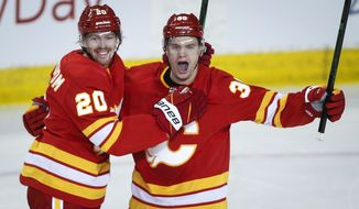 Calgary Flames' Byron Froese, right, celebrates his goal with teammate Joakim Nordstrom during the second period of an NHL hockey game against the Winnipeg Jets, Tuesday, Feb. 9, 2021 in Calgary, Alberta. (Jeff McIntosh/The Canadian Press via AP)