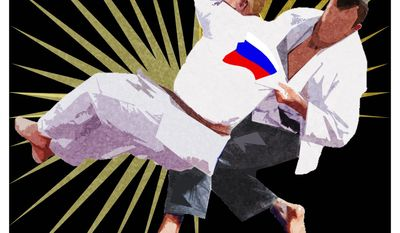 Illustration on Alexei Navalny versus Vladimir Putin by Alexander Hunter/The Washington Times