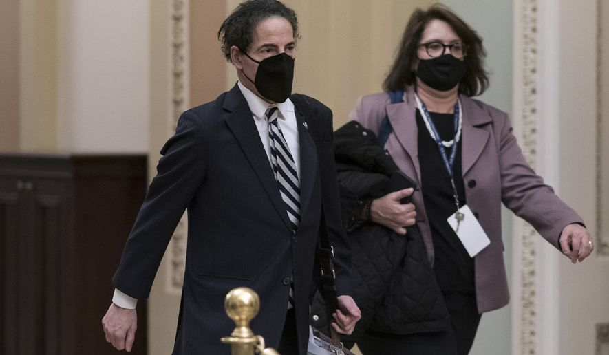 Rep. Jamie Raskin, D-Md., the lead House impeachment manager, leaves the Capitol after presenting the case against former President Donald Trump, at the Capitol in Washington, Thursday, Feb. 11, 2021. (AP Photo/J. Scott Applewhite)