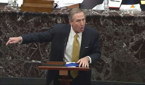 In this image from video, Michael van der Veen, an attorney for former President Donald Trump, talks as he answers a question from Sen. Josh Hawley, R-Mo., and Sen. Kevin Cramer, R-N.D., during the second impeachment trial of former President Donald Trump in the Senate at the U.S. Capitol in Washington, Friday, Feb. 12, 2021. (Senate Television via AP)