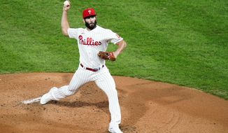 Philadelphia Phillies' Jake Arrieta pitches during the second inning of a baseball game against the New York Mets, Tuesday, Sept. 15, 2020, in Philadelphia. (AP Photo/Matt Slocum)