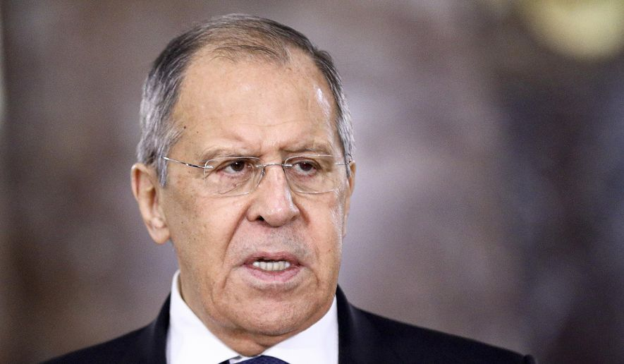 In this photo released by the Russian Foreign Ministry Press Service, Russian Foreign Minister Sergey Lavrov speaks during a meeting in Moscow, Russia, Wednesday, Feb. 10, 2021. Russia is prepared to cut ties with the European Union if the EU imposes new sanctions amid a dispute over the treatment of opposition leader Alexei Navalny, the nation's top diplomat warned Friday. In response to a question on Moscow's willingness to rupture formal relations with the EU, Foreign Minister Sergey Lavrov said in televised remarks that Russia doesn't want to be isolated but is ready to retaliate if the EU action hurts its economy. (Russian Foreign Ministry Press Service via AP)