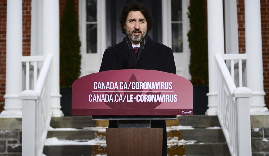 Prime Minister Justin Trudeau holds a news conference at Rideau Cottage in Ottawa on Friday, Feb. 5, 2021.  (Sean Kilpatrick/The Canadian Press via AP)