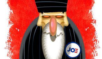 Illustration on Iran's attitude toward President Biden by Alexander Hunter/The Washington Times