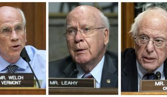 FILE - This combo of 2020 and 2021 file photos shows U.S. Rep. Peter Welch, D-Vt., left, Sen. Patrick Leahy, D-Vt., and Sen. Bernie Sanders, I-Vt., right, during committee hearings on Capitol Hill in Washington. Despite Vermont's reputation as one of the most liberal states, it is the only state that hasn't sent a woman or a member of a minority group to Congress. In the past 30 years there has been just one vacancy in the three-member delegation. (AP Photos/Pool, File)