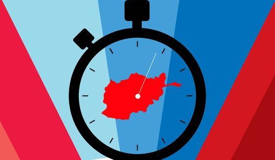 Illustration on decision time in Afghanistan by Linas Garsys/The Washington Times